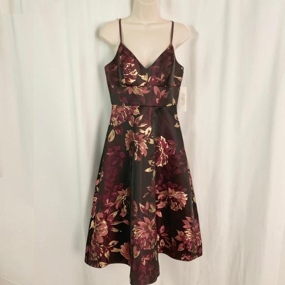 Eliza J Floral Midi Dress Wine Metallic